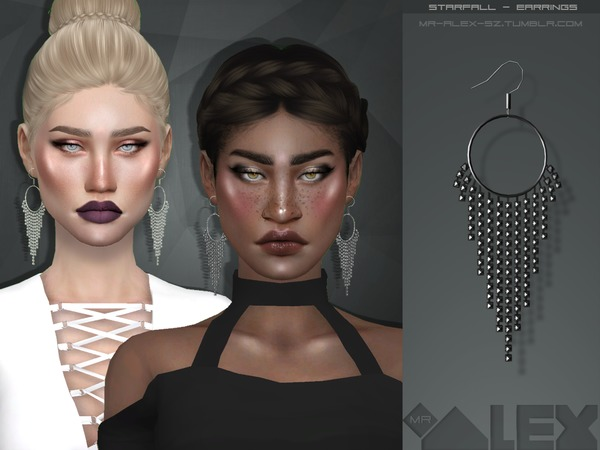 Sims 4 Starfall earrings by Mr.Alex at TSR