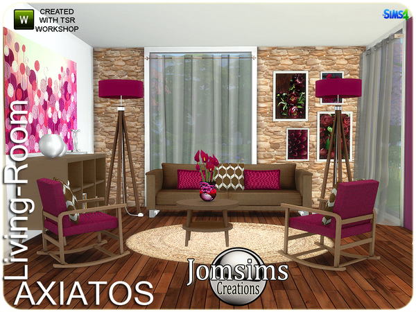 Axiatos living room by jomsims at TSR image 2228 Sims 4 Updates
