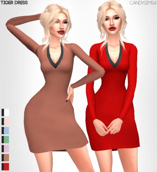 Sims 4 TIGER DRESS at Candy Sims 4