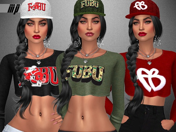 MP Female FUBU Collection Crop Tops by MartyP at TSR image 2620 Sims 4 Updates