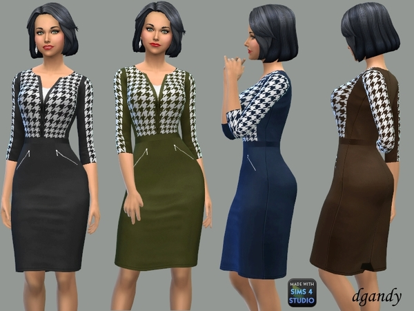 Sims 4 Pencil Dress with Hounds tooth Top by dgandy at TSR