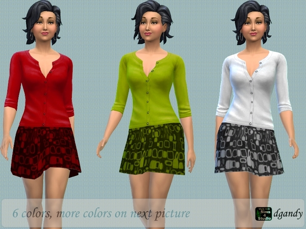 Sims 4 Skirt and Sweater by dgandy at TSR