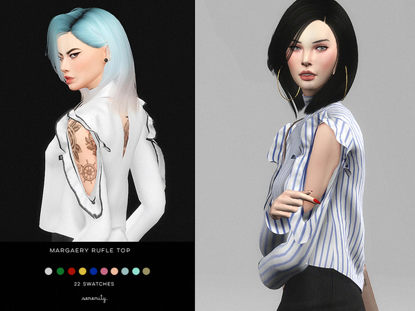 Sims 4 Margaery Ruffle Top by serenity cc at TSR