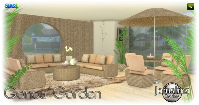 Sims 4 Ganou Garden set at Jomsims Creations