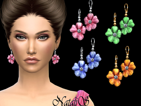 Sims 4 Carved flower drop earrings by NataliS at TSR