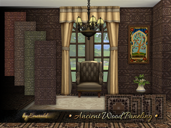 Sims 4 Ancient Wood Paneling by emerald at TSR