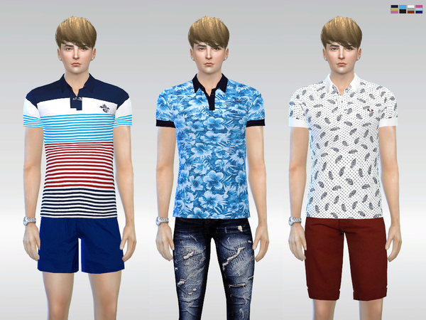 Sims 4 Patterned Cool Polo by McLayneSims at TSR