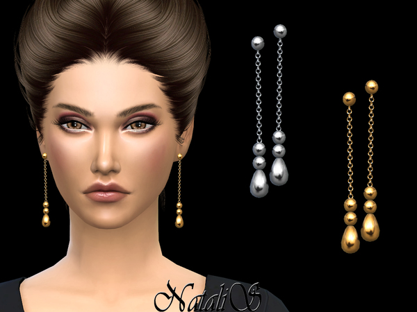 Beaded chain drop earrings by NataliS at TSR image 346 Sims 4 Updates