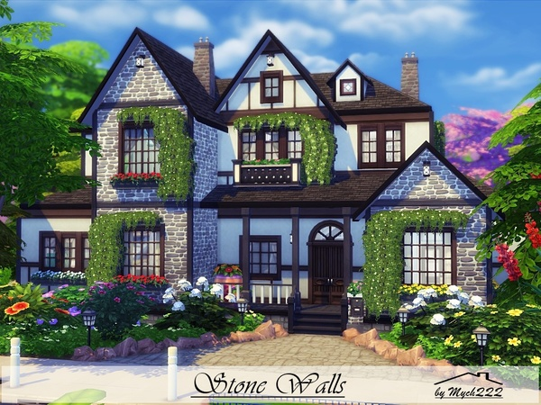 Stone Walls big house in Tudor style by MychQQQ at TSR image 395 Sims 4 Updates
