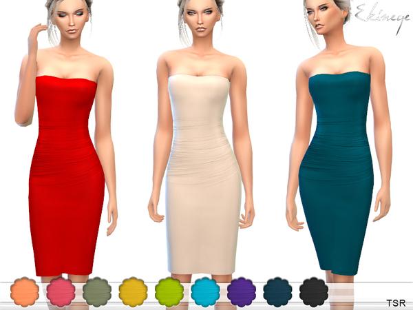 Sims 4 Strapless Midi Tube Dress by ekinege at TSR