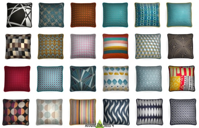 Sims 4 Big collection of rugs & pillows at Around the Sims 4