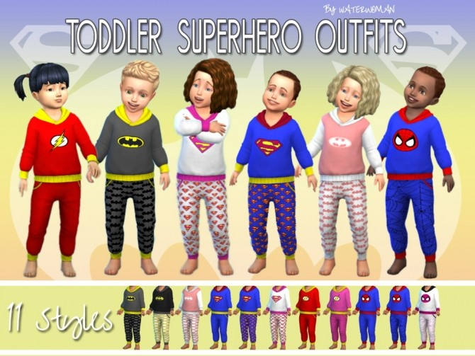 Sims 4 Toddlers Super hero outfits by Waterwoman at Akisima