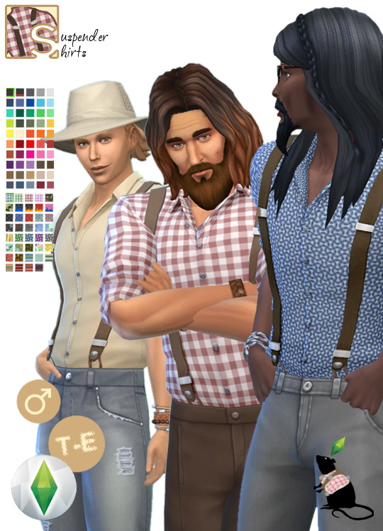 Sims 4 Recolor of marvinsimss suspender shirt by Standardheld at SimsWorkshop