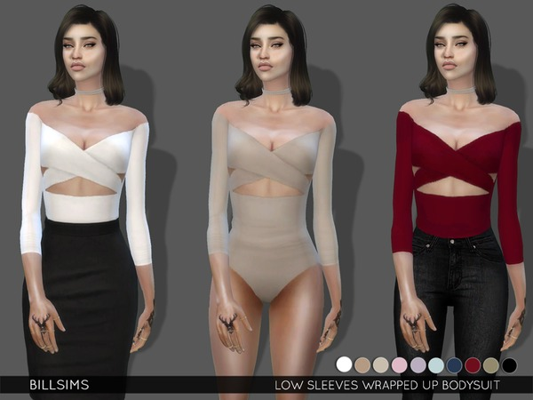 Sims 4 Low Sleeves Wrapped Up Bodysuit by Bill Sims at TSR
