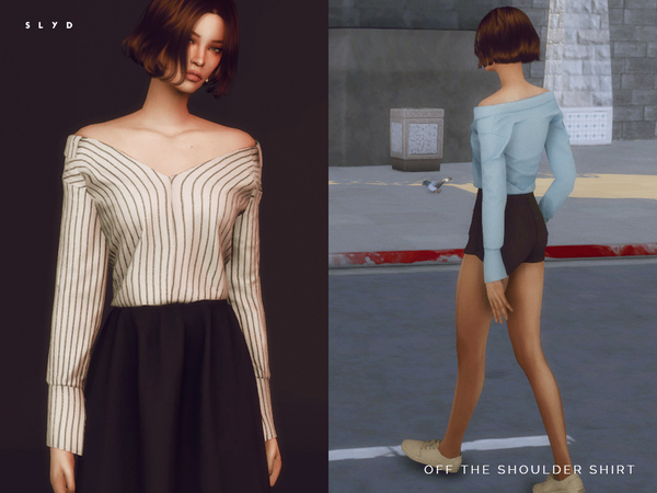 Sims 4 Off The Shoulder Shirt by SLYD at TSR