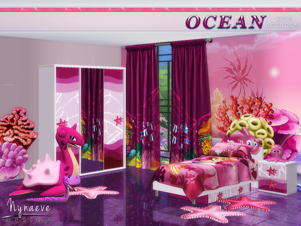Sims 4 Ocean Kids Bedroom by NynaeveDesign at TSR