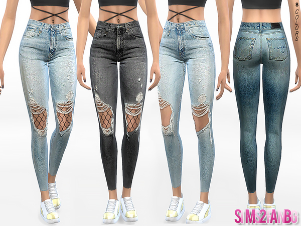 Sims 4 332 Ripped Skinny Jeans With Tights by sims2fanbg at TSR