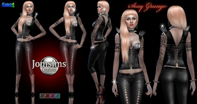 Sims 4 Grunge outfit with integrated jewelry at Jomsims Creations