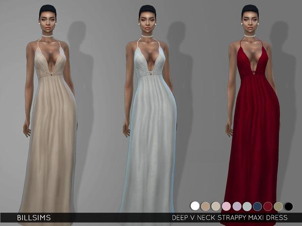 Sims 4 Deep V Neck Strappy Maxi Dress by Bill Sims at TSR