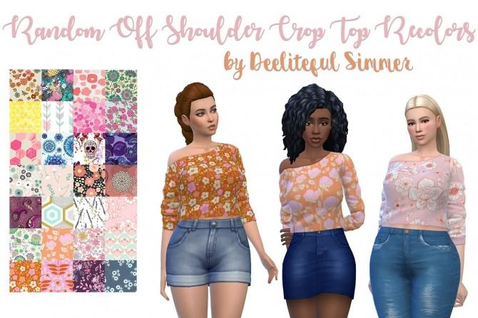 Sims 4 Random off shoulder crop top recolors at Deeliteful Simmer