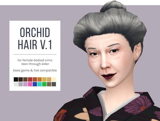 Orchid Hair Versions 1 & 2 plus Overlay Accessory at Femmeonamissionsims image 5851 670x506 Sims 4 Updates