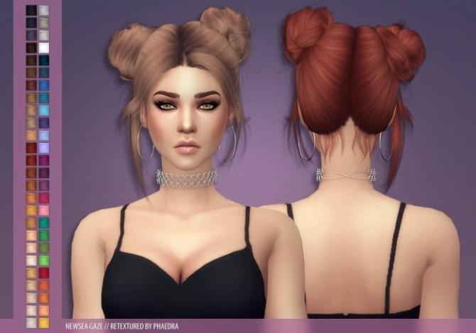 Sims 4 Newsea Gaze Hair recolor at Phaedra