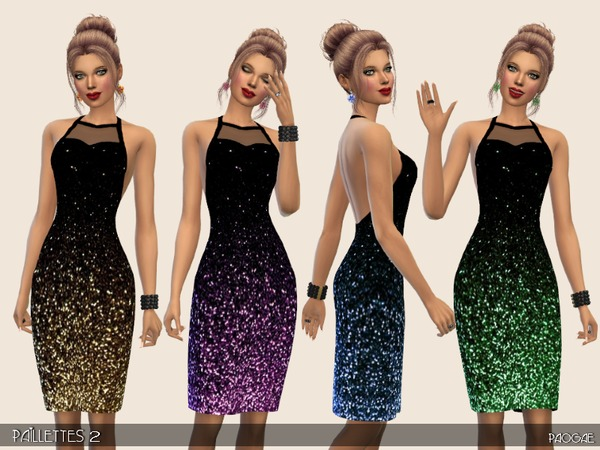 Sims 4 Paillettes 2 black dress by Paogae at TSR