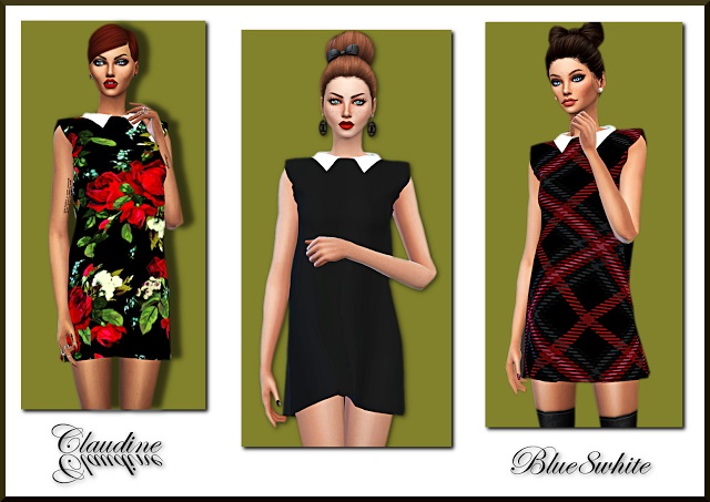 Sims 4 CLAUDINE DRESS WITH COLLAR at Blue8white