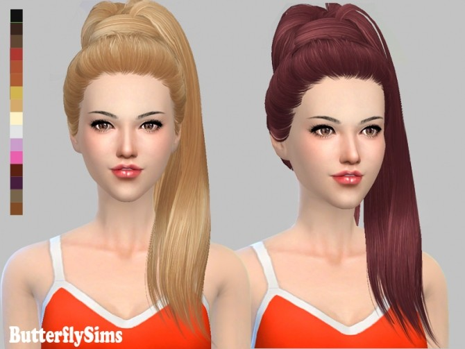 Sims 4 B fly hair af 132 No hat (Free) by YOYO at Butterfly Sims