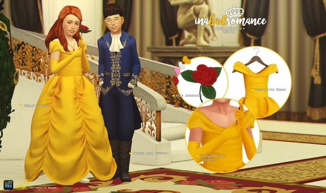 Sims 4 Beauty & the Beast Children mini set at In a bad Romance