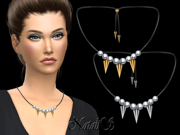 Pearls and spikes necklace by NataliS at TSR image 668 Sims 4 Updates