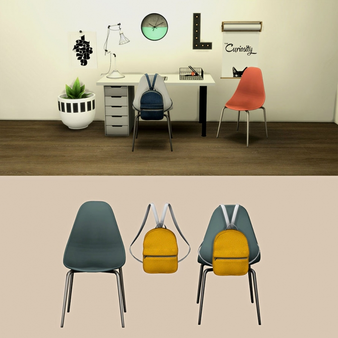 Roma Desk Chair And Bag At Leo Sims 187 Sims 4 Updates