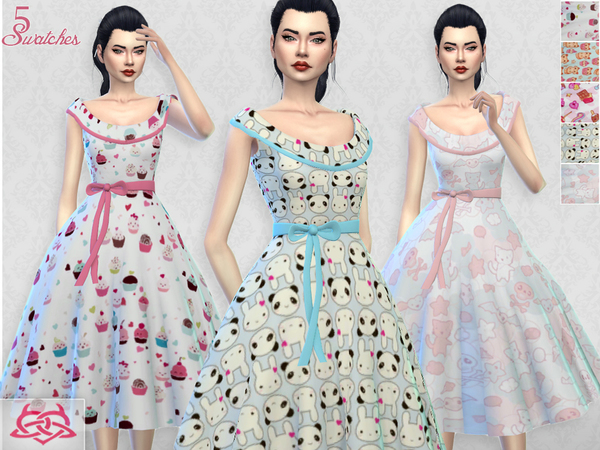 Sims 4 Romi dress RECOLOR 5 by Colores Urbanos at TSR