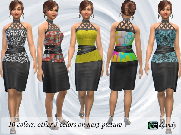Sims 4 Leather Skirt with Lyrca and Leather Top by dgandy at TSR