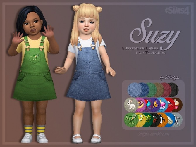 Sims 4 Suzy Suspender Dress for Toddlers at Trillyke
