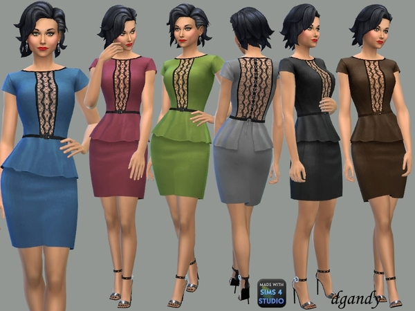 Peplum Dress with Lace Inserts by dgandy at TSR image 7313 Sims 4 Updates
