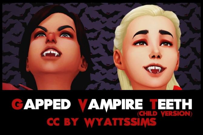 Gapped Vampire Teeth Child Version At Wyatts Sims 187 Sims 4