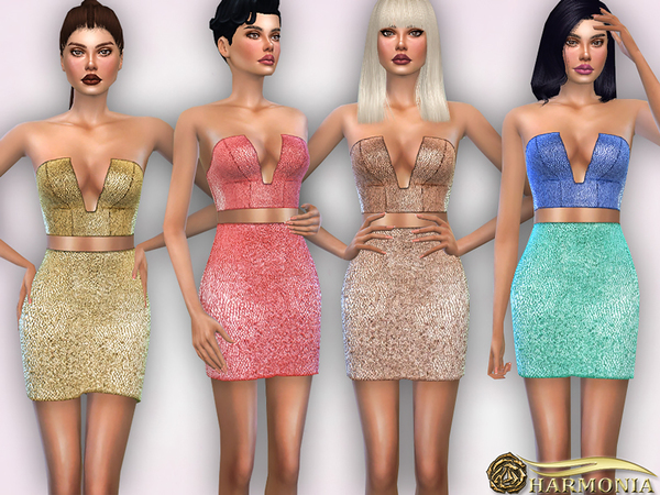 Sims 4 Deep Plunge Metallic Dress Co Ord by Harmonia at TSR