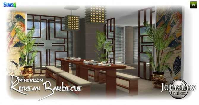 Korean Barbecue Dining Room At Jomsims Creations 187 Sims 4
