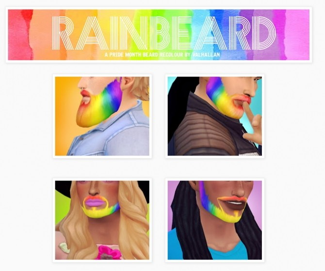 Rainbeard a Pride Month beard recolour at Valhallan image 7610 670x559 Sims 4 Updates