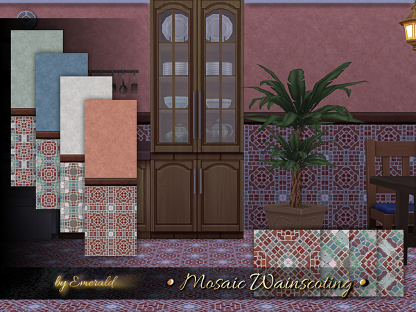 Mosaic Wainscoting by emerald at TSR image 781 Sims 4 Updates