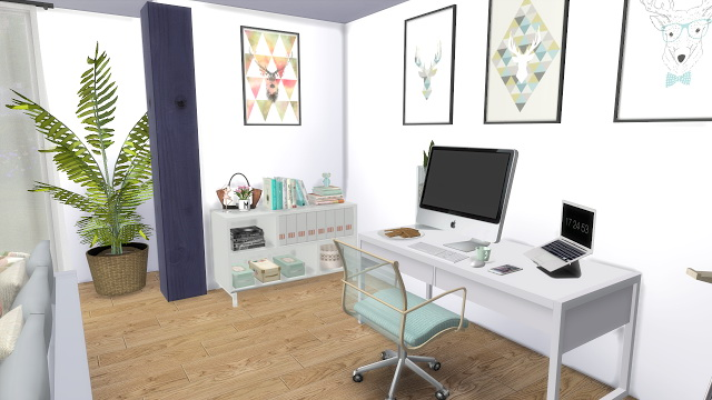 Sims 4 Cozy Blue Living Room at Dinha Gamer