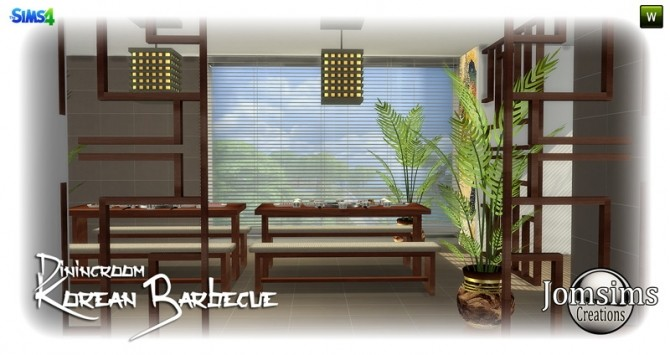 Sims 4 Korean barbecue dining room at Jomsims Creations