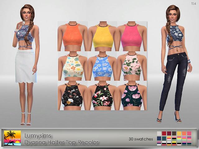 Sims 4 LumySims Dyanna Halter Top Recolor at Elfdor Sims