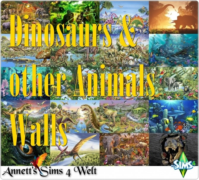 Sims 4 Dinosaurs & other Animals Walls at Annett's Sims 4 Welt