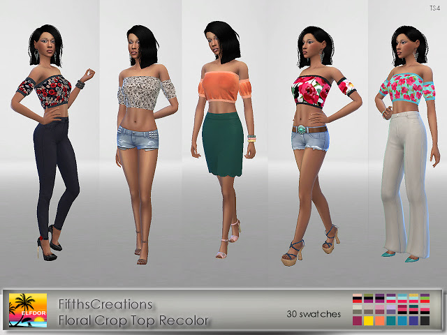 FifthsCreations Floral Crop Top Recolor at Elfdor Sims image 858 Sims 4 Updates
