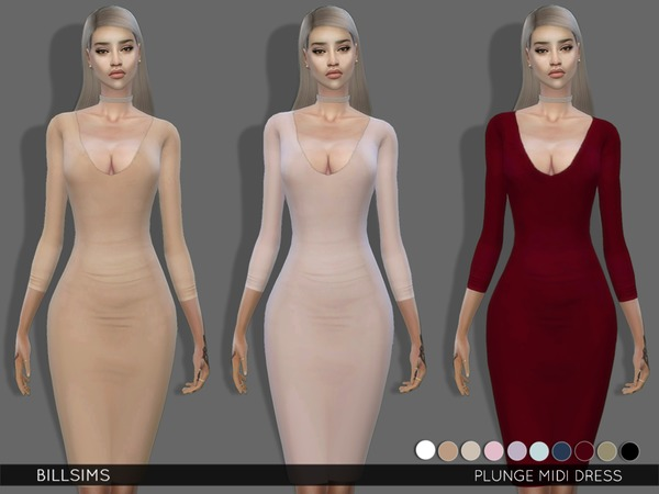 Plunge Midi Dress by Bill Sims at TSR image 92 Sims 4 Updates