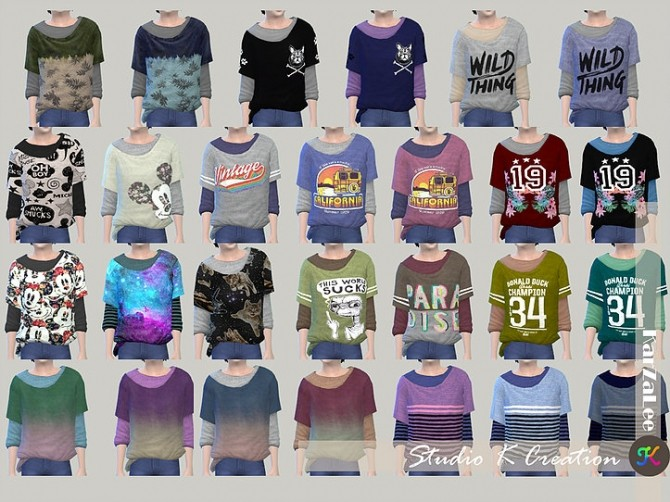Sims 4 Giruto 22 knotted layered Tee Child version at Studio K Creation