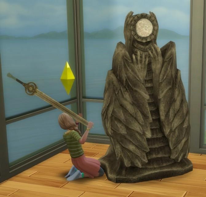 Sims 4 Haggy Skyrim Dawn Breaker Sword and Pedestal by BigUglyHag at SimsWorkshop