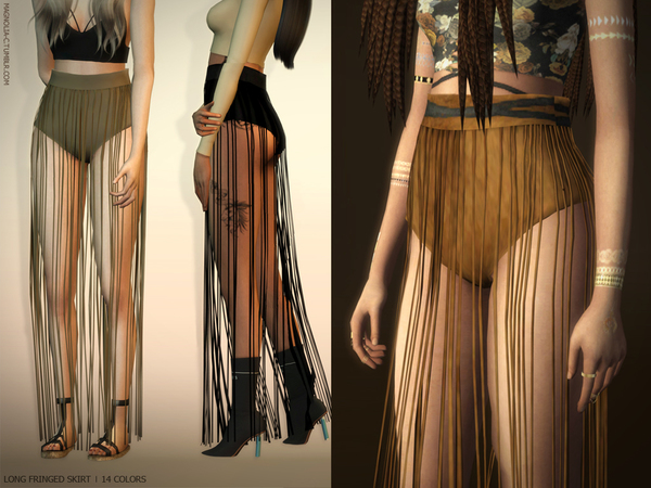Long Fringed Skirt by magnolia c at TSR image 1 Sims 4 Updates